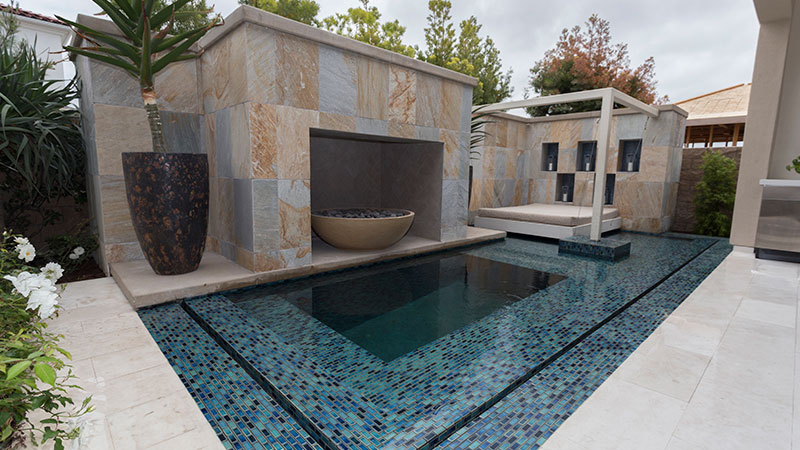 Backyard Private Resort With a Small Tile Pool