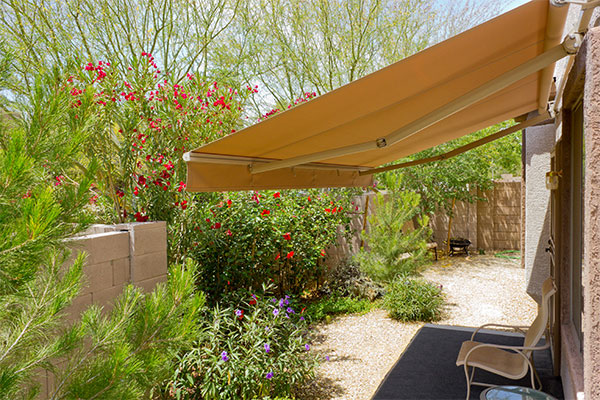 Retractable Awning Backyard Seating Area