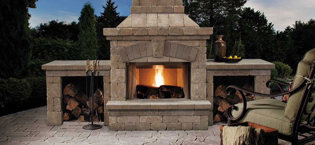 Belgard Brighton ™ Series Fireplace with wood boxes