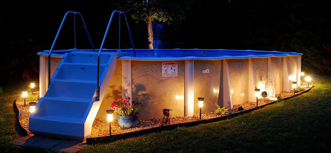 Above Ground Pool with Night Lights