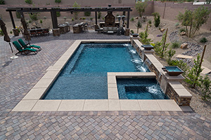 Gunite Rectangle Shape Swimming Pool with Dark Gray Water Color