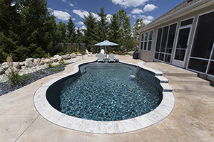 Gunite Free Form Shape Swimming Pool with Deep Dark Green Water Color