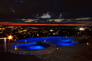 Cabaret - LED Blue Pool Overviewing a City at Night