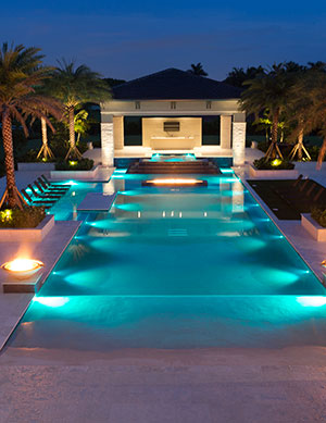 Cabaret – Electric Blue Lights Light Up A Beach Entry Pool