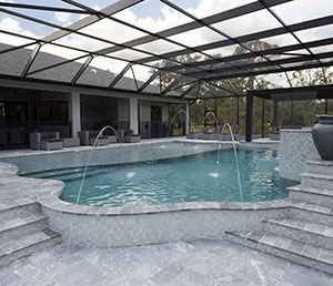 Glam – Freeform Tiled Pool, Water Jets, Pool Covering