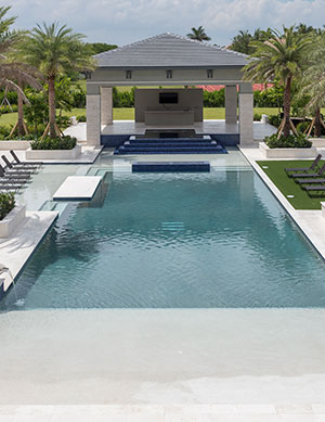 Glam – Elegant Pool with Beach Entry, Tanning Ledge, Water Bowls