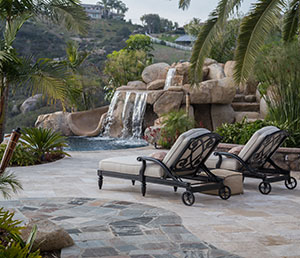 Natural – Rocky Waterfall and mermaid, Patio Furniture Facing Pool