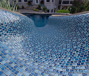 Sand Castle – Pool Slide in Bright Cobalt Blue Tile, Fun and Multicolor