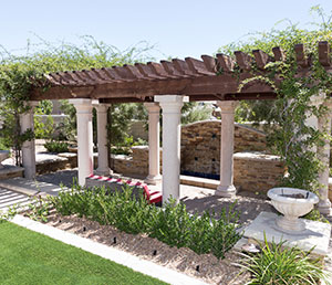 World – Cabana with Vines, White Columns, Pink Patio Furniture