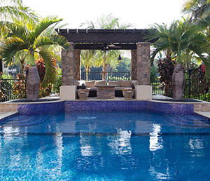 World – Crystal Blue Waters, Colorful Tile, Cabana with Furniture, Tropical trees