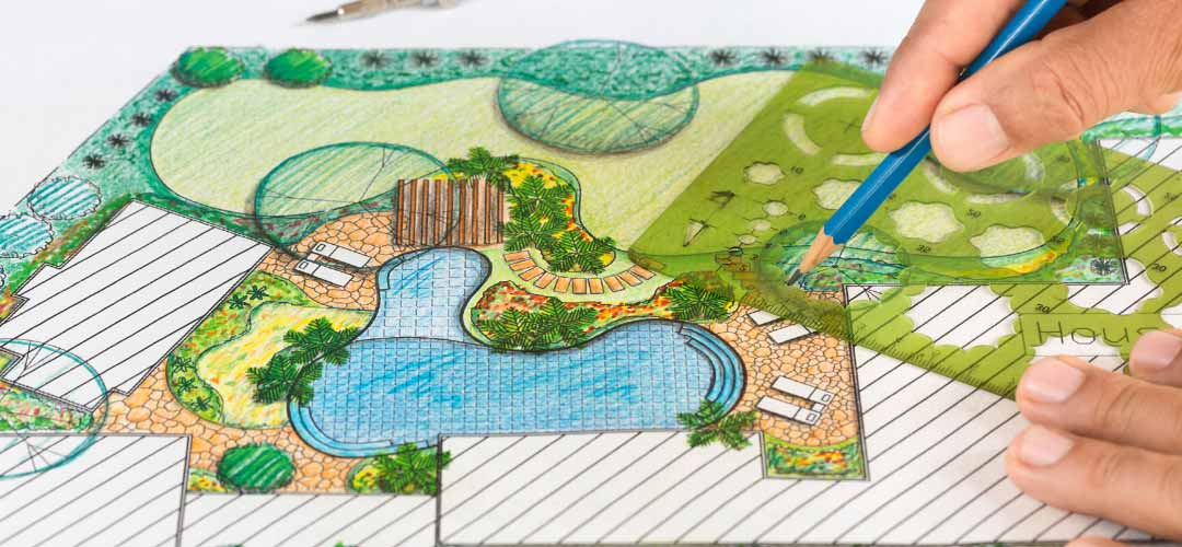 drawing of a backyard and swimming pool plan