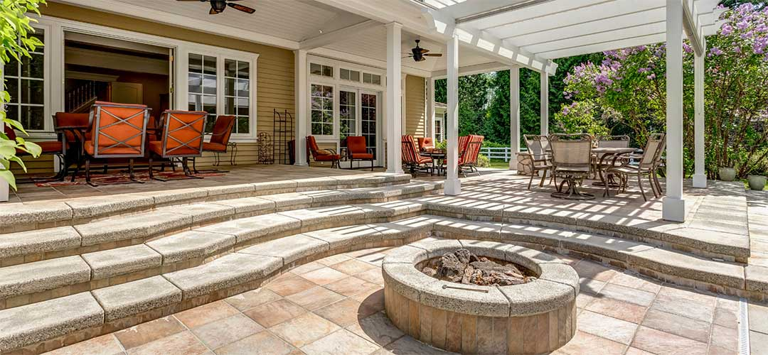 Outdoor patio with furniture and fire pit