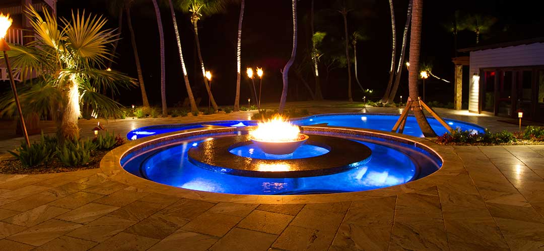swimming pool fire feature