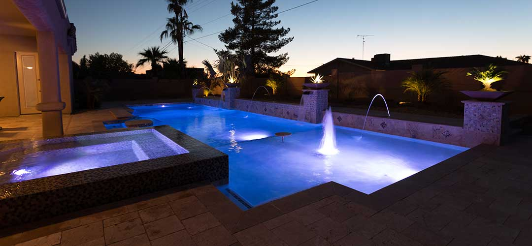 night time swimming pool with lighting