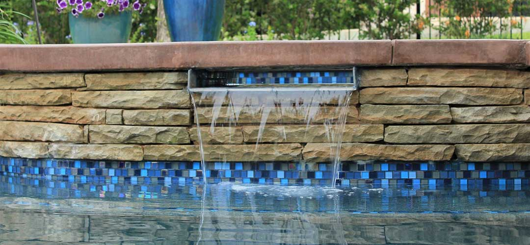 1x1 Pool Tile with copper scupper