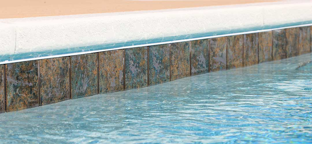 close up of 6x6 swimming pool tile