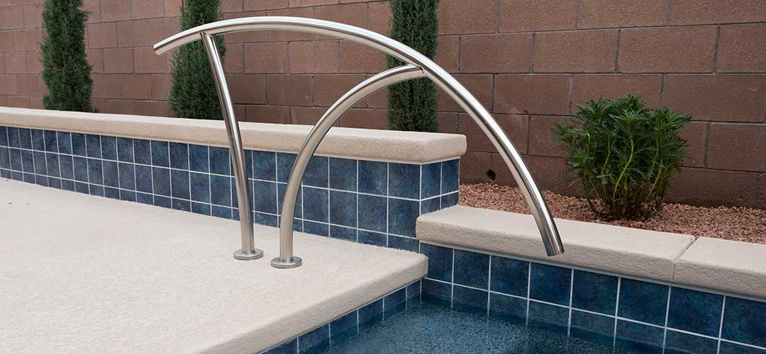 6x6 swimming pool tile with railing